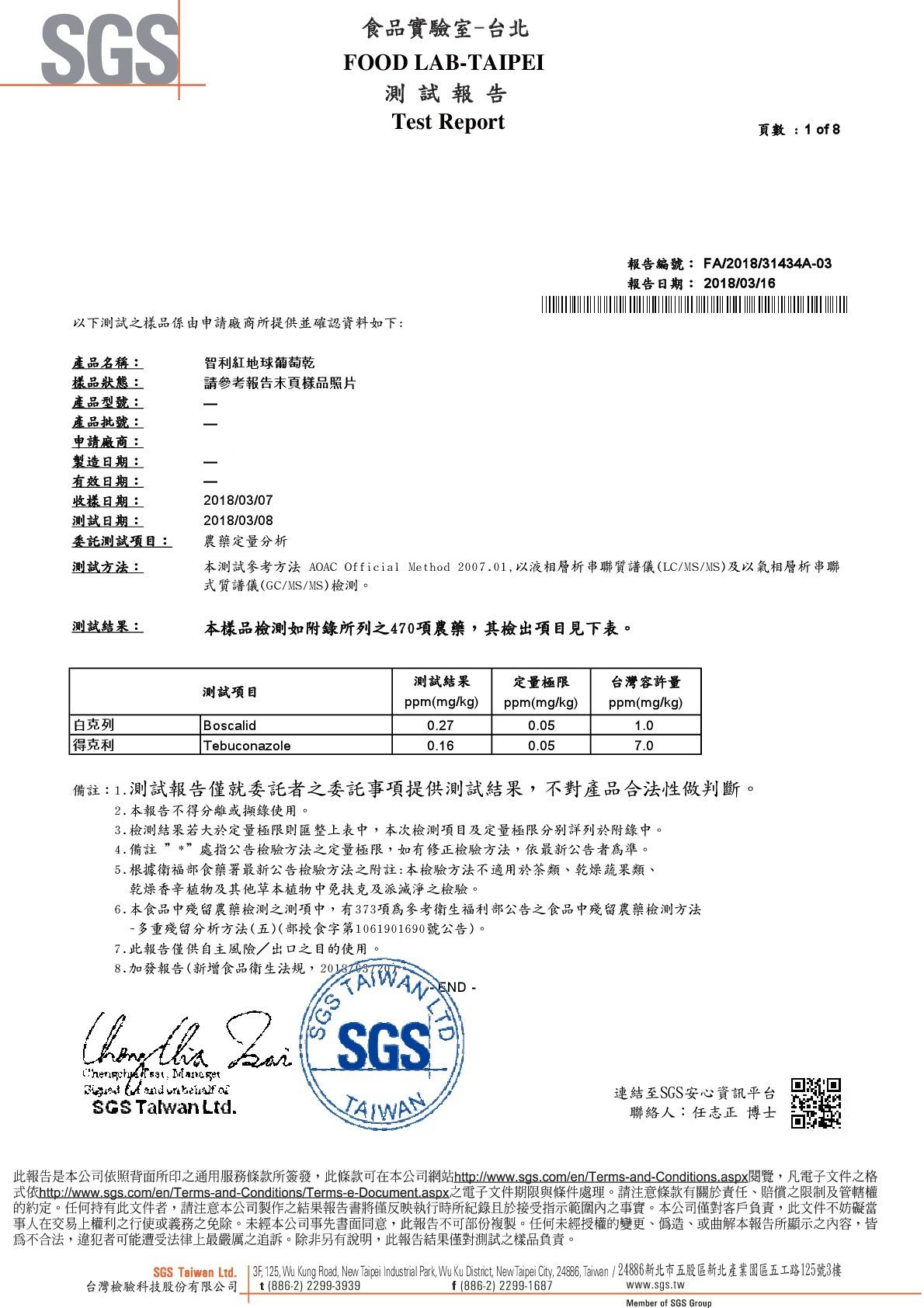 智利紅地球葡萄乾-SGS農藥檢驗合格